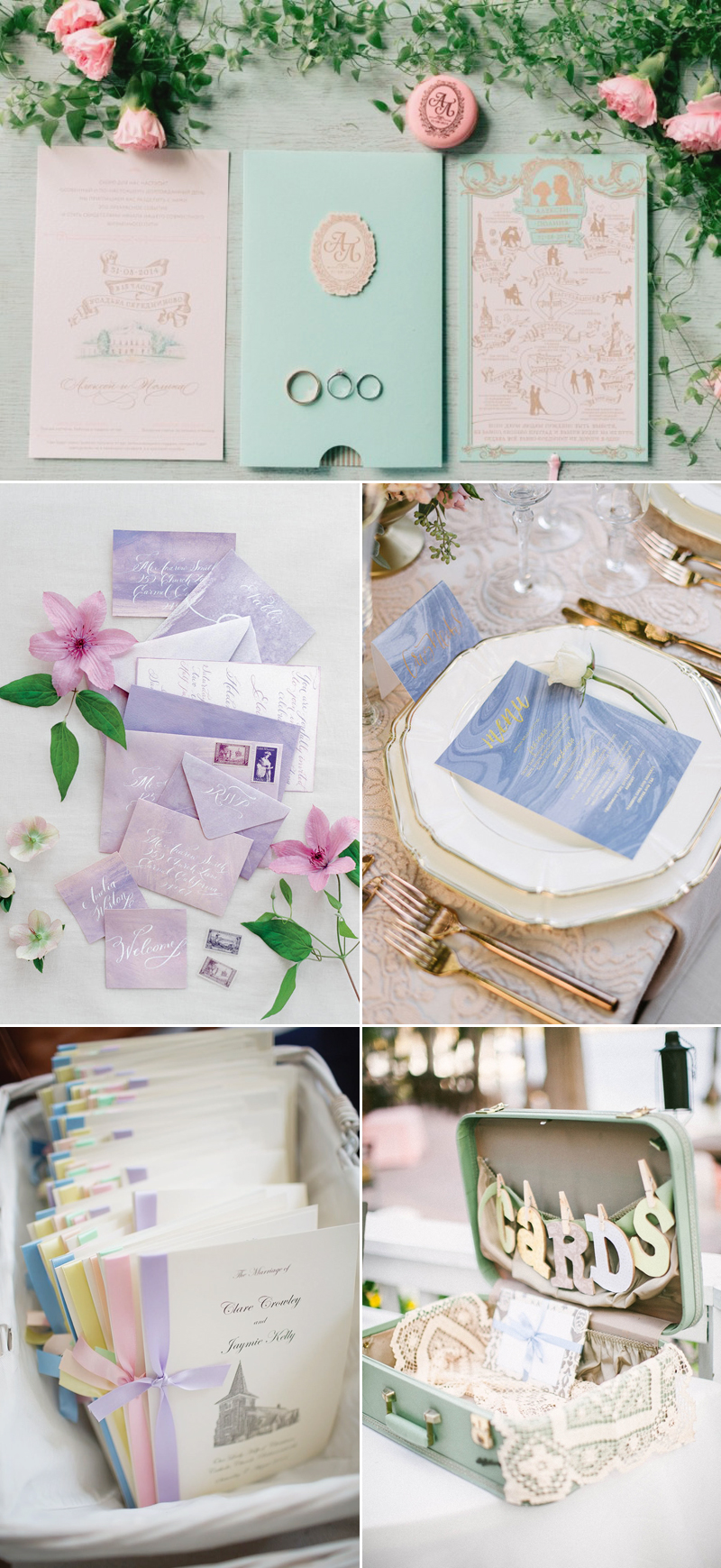 pastel color wedding invitation