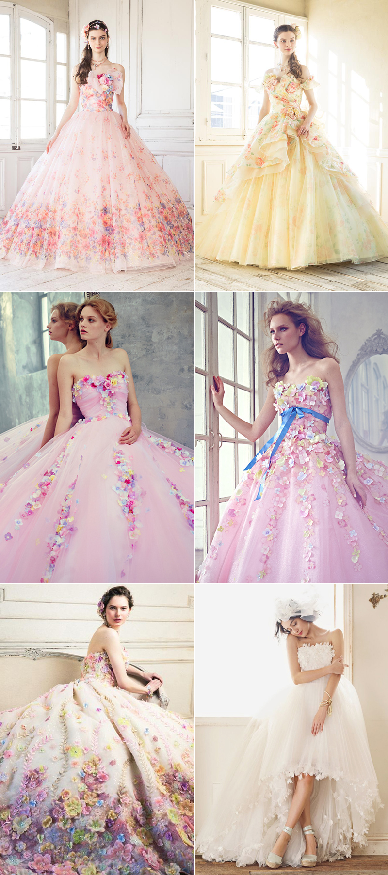 pink and yellow wedding gown