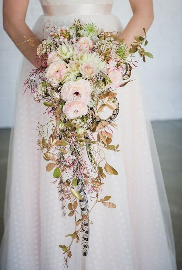 pink pale wedding bouquet