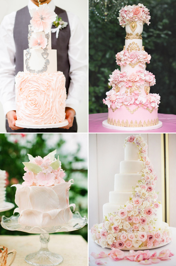 pink romance wedding cakes ideas