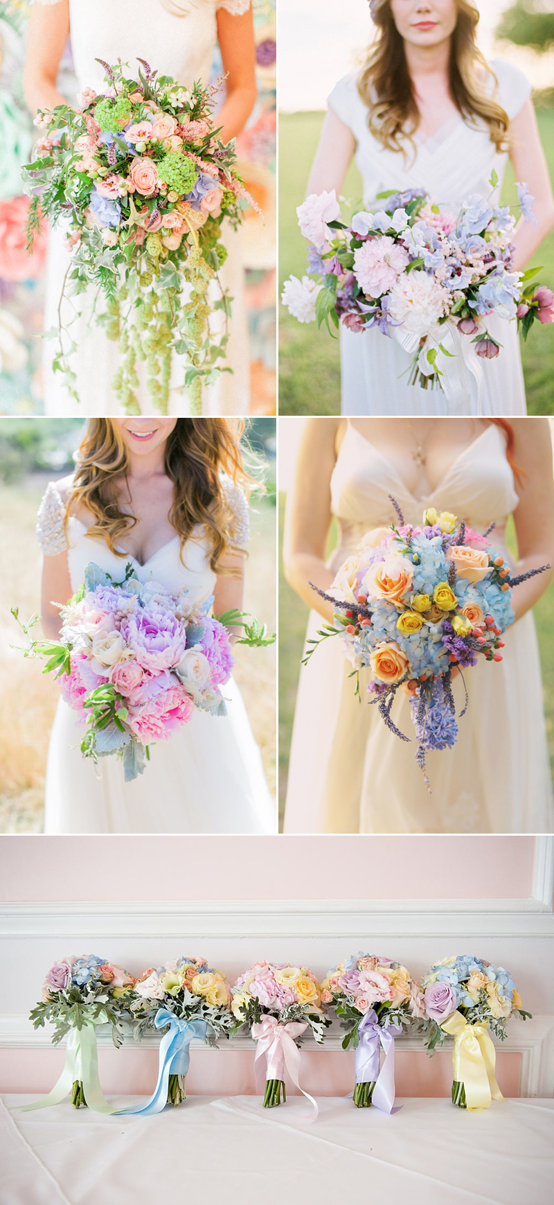 romantic pastel color wedding bouquet