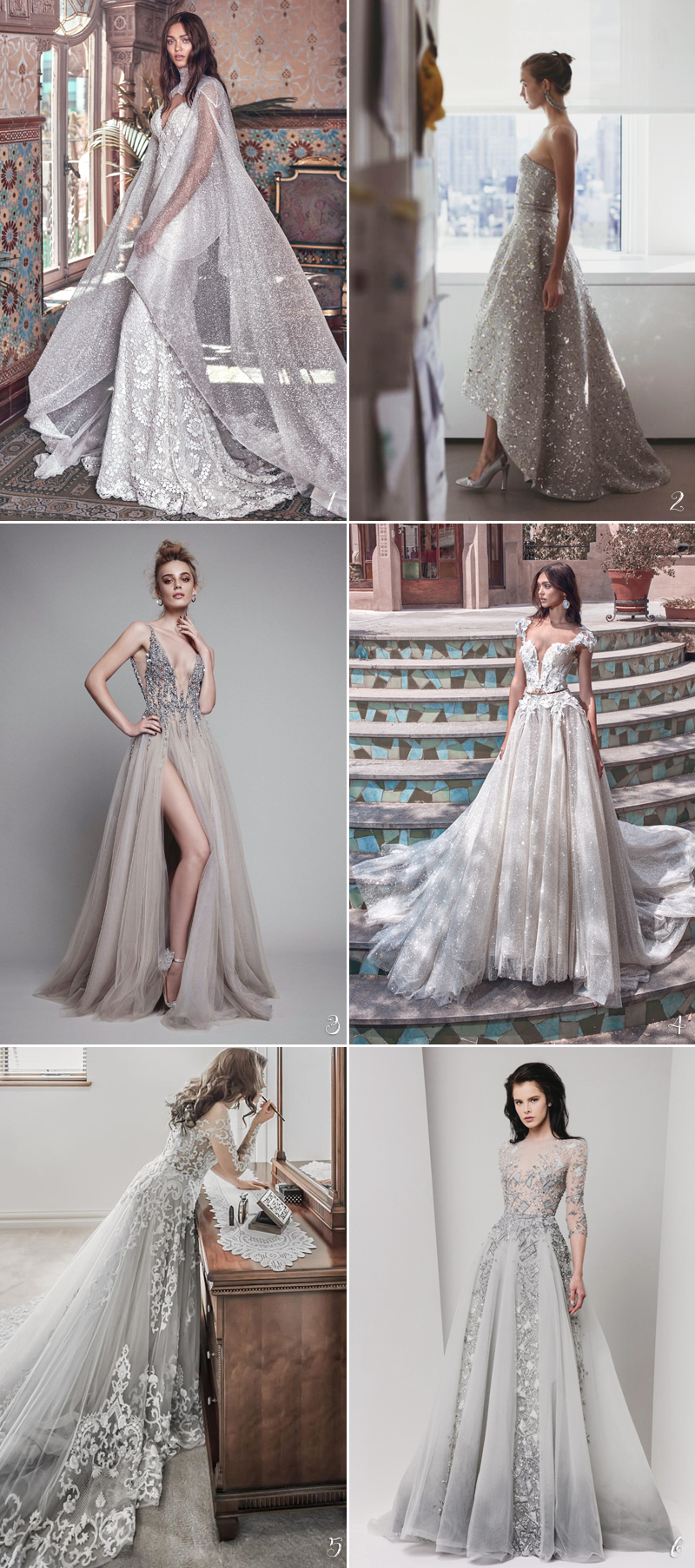 silver wedding gowns with sparkling beaded