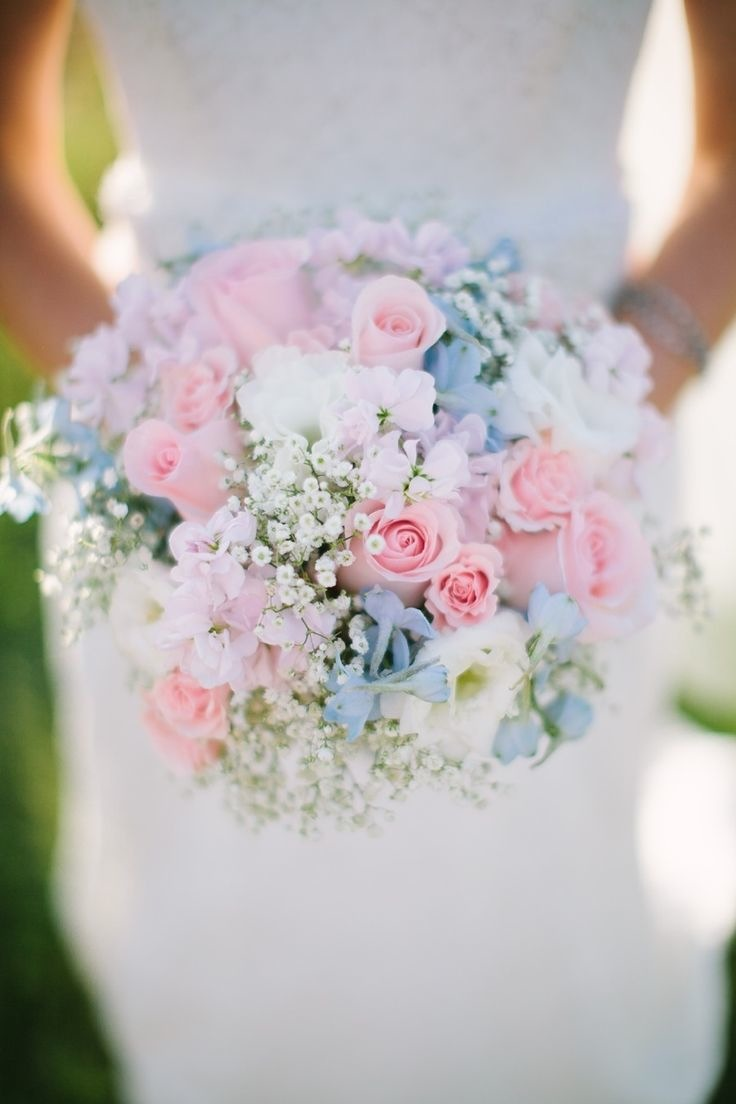 soft pink and blue wedding bouquet