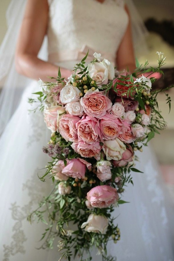 soft pink bouquet with greenery