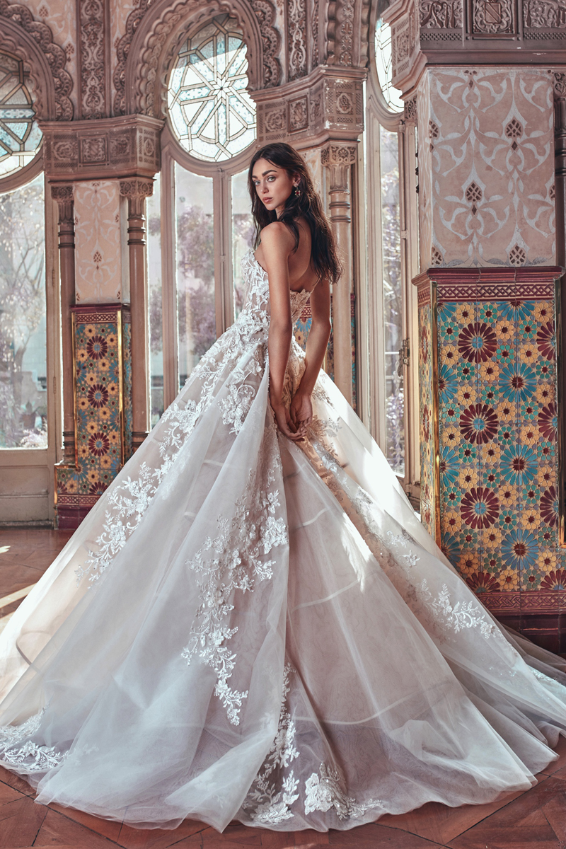 striking wedding gown with floral embellished