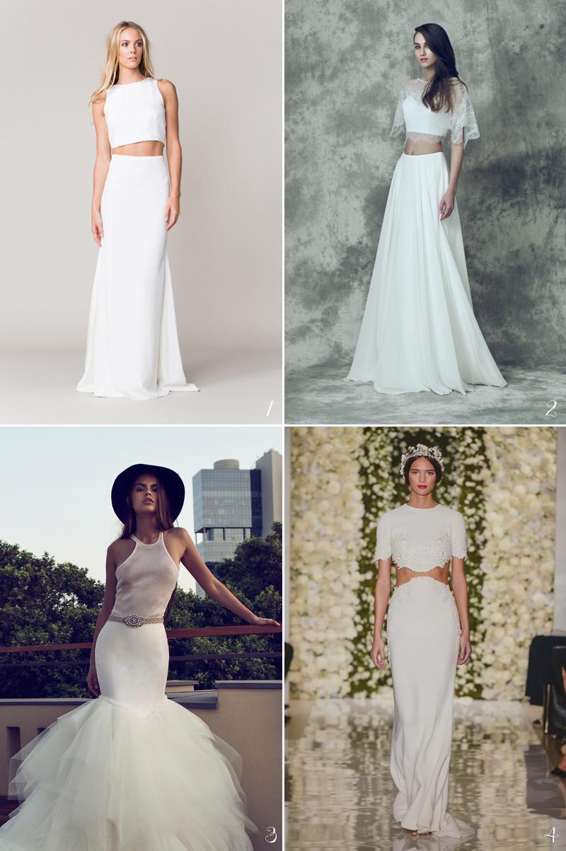 stylish crop top wedding dress for bride