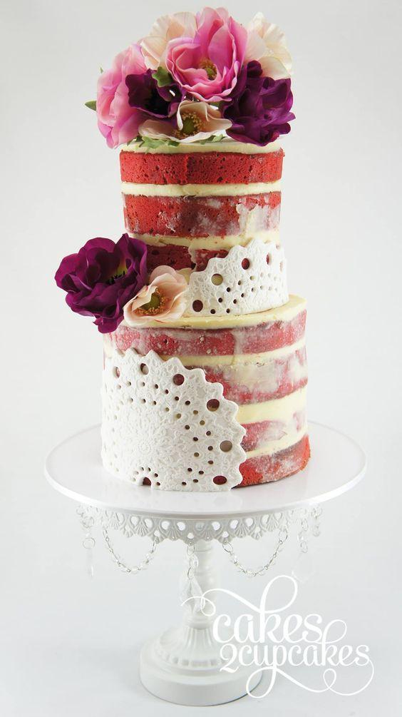 unique red wedding cake
