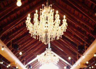 vintage wedding decor with beautiful lights