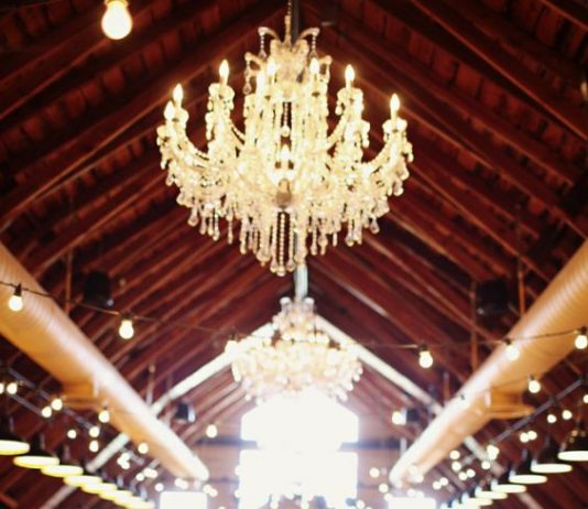 vintage wedding decor with beautiful lights
