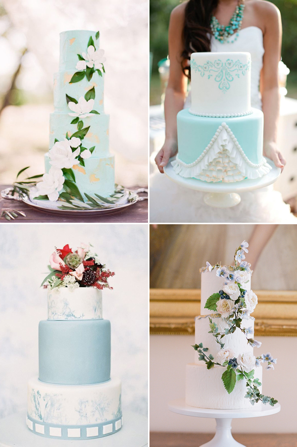 wedding cakes in blue theme