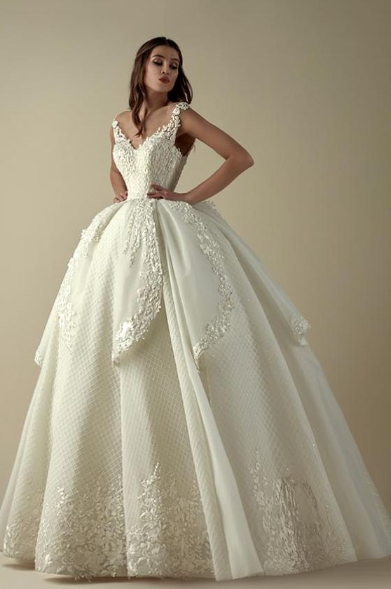 white beautiful wedding gown