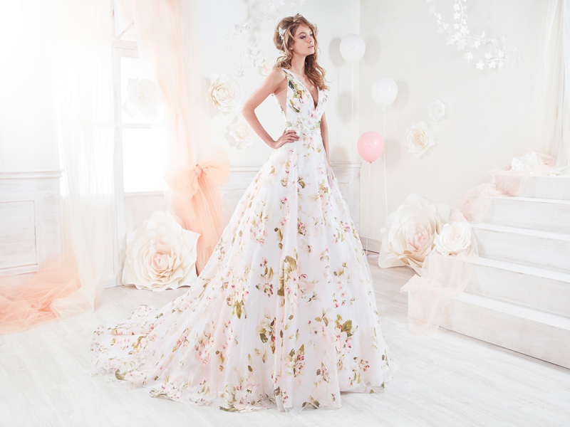 white beautiful floral gown