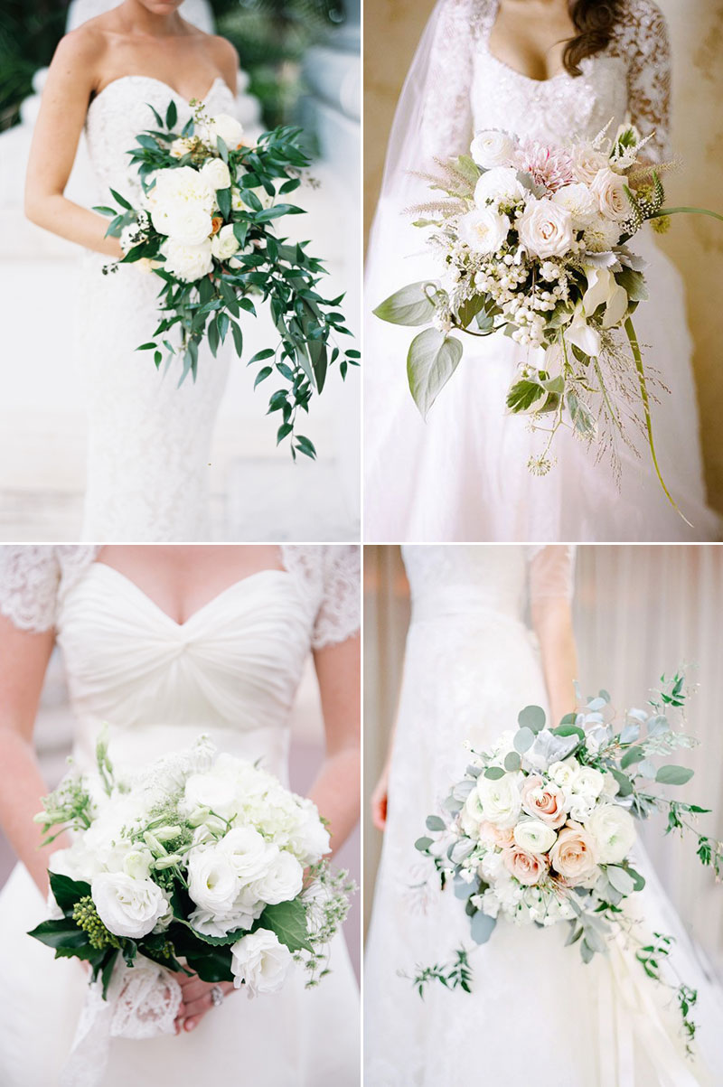 white chic winter wedding bouquets