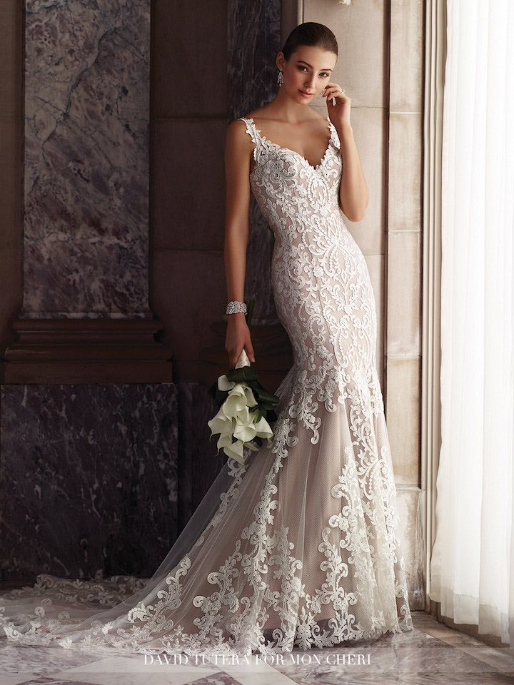 white elegant mermaid wedding gown
