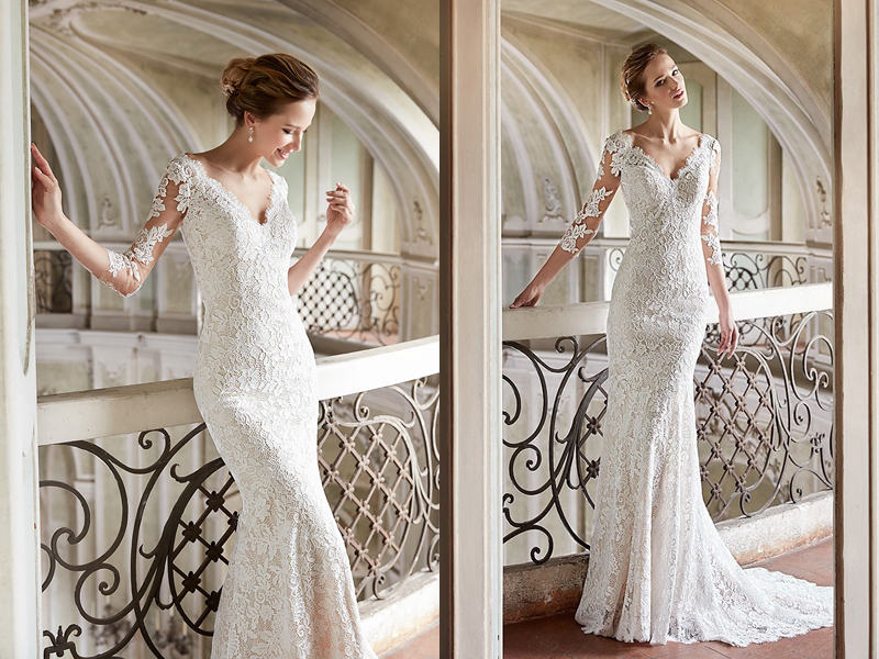 white mermaid lace wedding dress