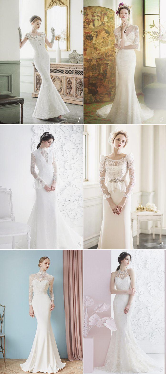 white vintage wedding gown design