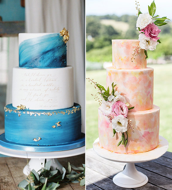 beautiful watercolor wedding cake