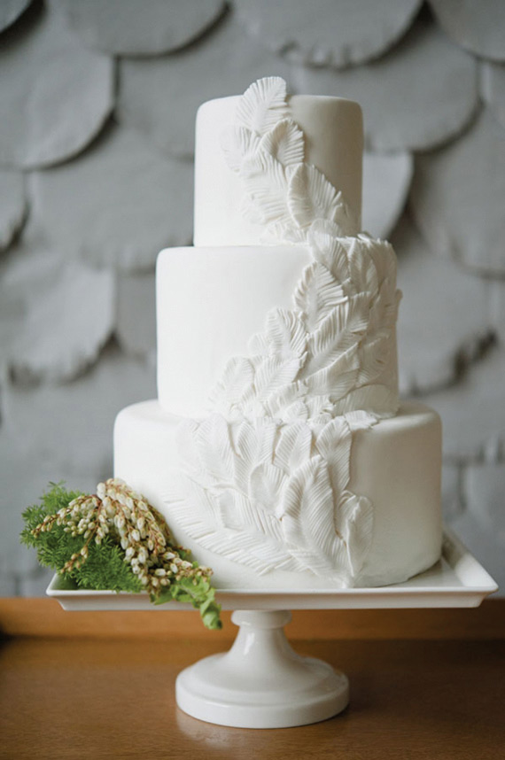 beautiful white feather wedding cake