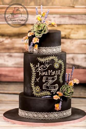 black wedding cake design