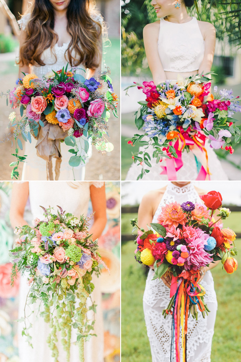 colorful rainbow wedding bouquets
