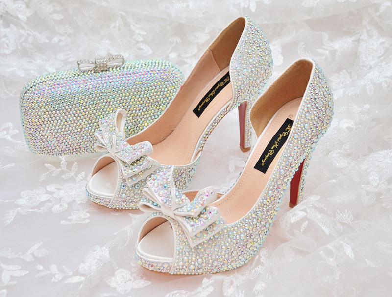 crystal sparkling beaded wedding shoes