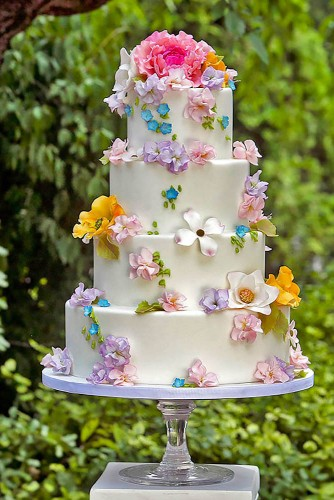 cute floral topping wedding cake