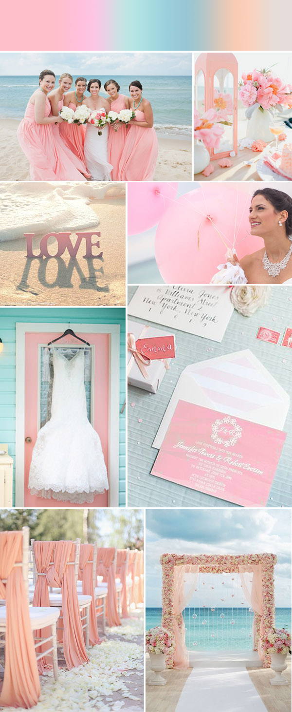elegant-coral-pink-beach-wedding-ideas-and-watercolor-beach-wedding