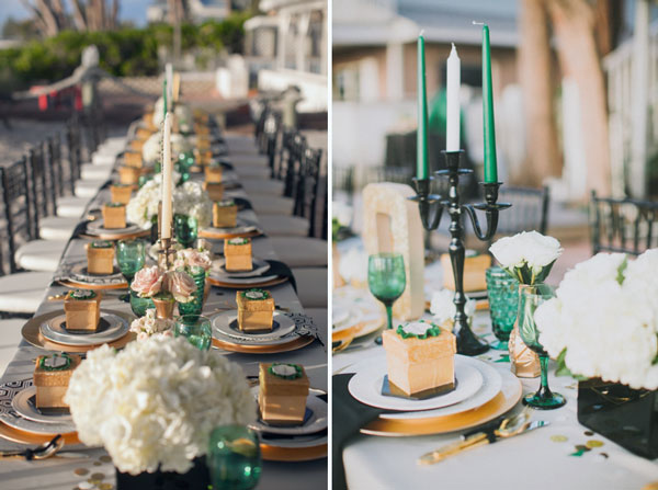 Emerald Gold Wedding Dinning Place
