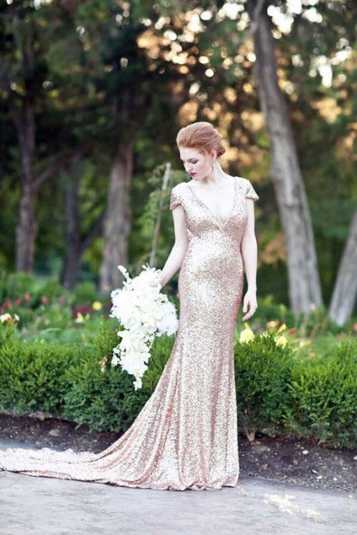 Emerald Gold Wedding Dress
