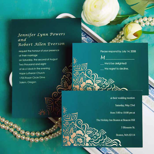 Emerald Gold Wedding Invitation