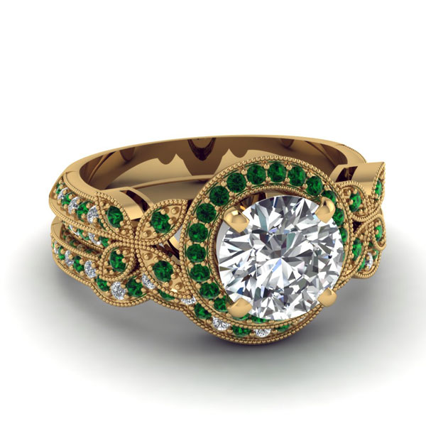Emerald Gold Wedding Rings