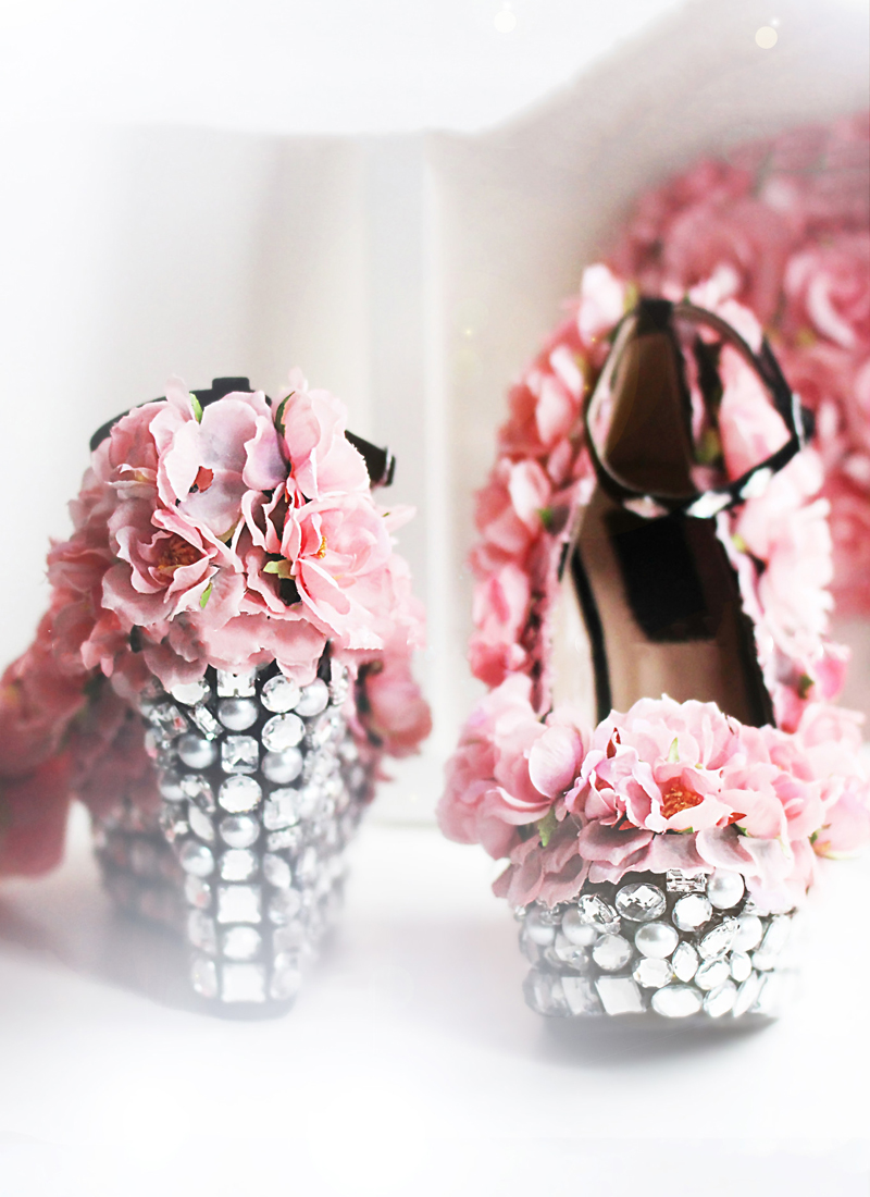full coverage floral wedding shoes