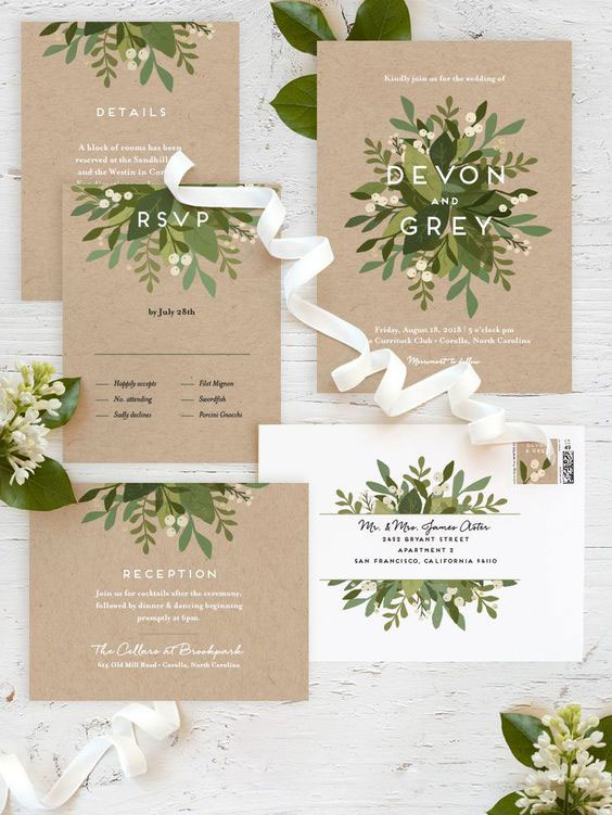 Greenery Wedding Invitiation