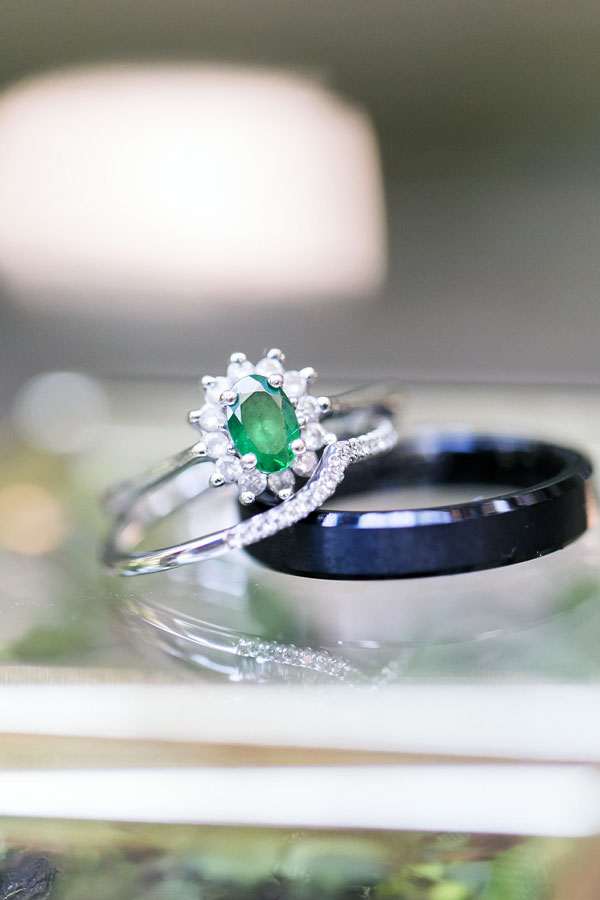 Greenery Wedding Rings