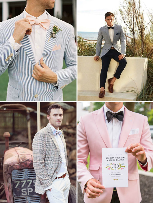 light and bright groom suits