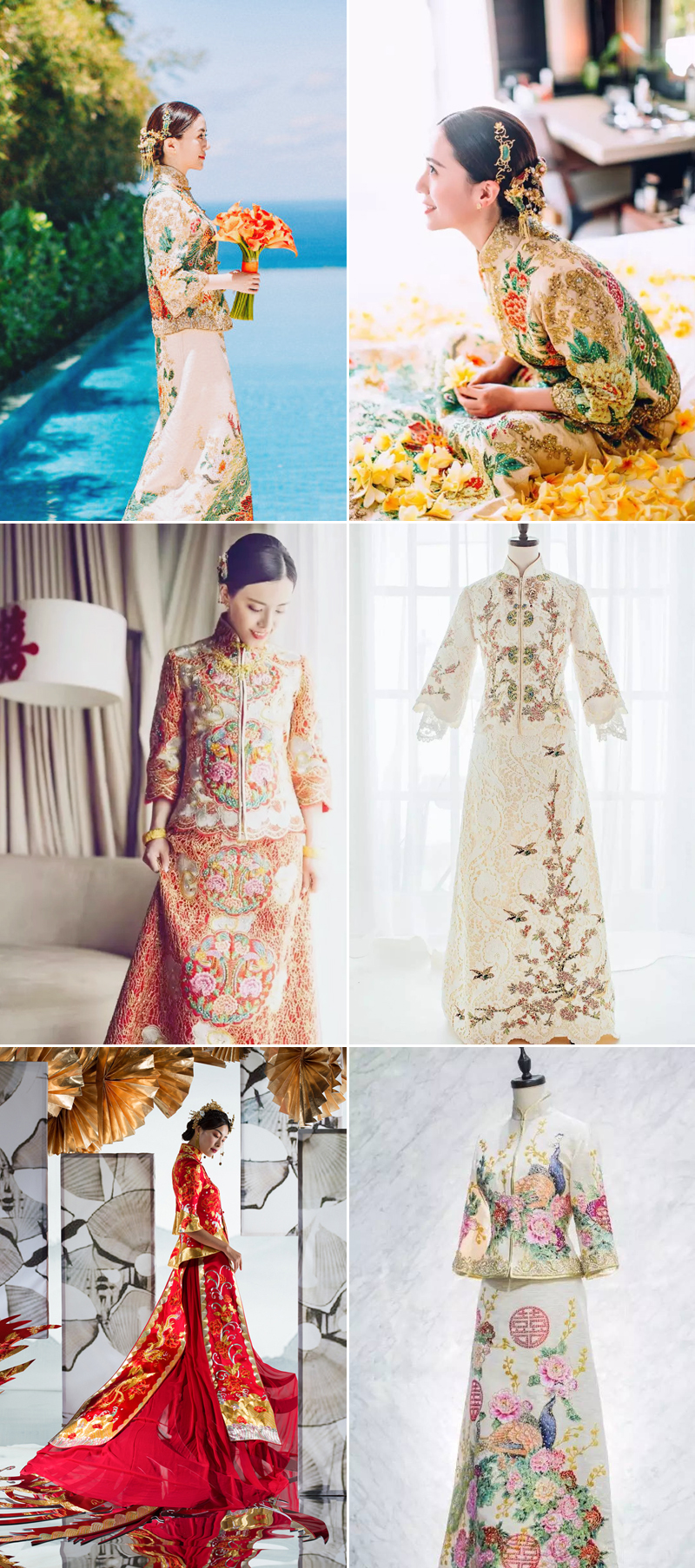 modern colorful chinese brides gown