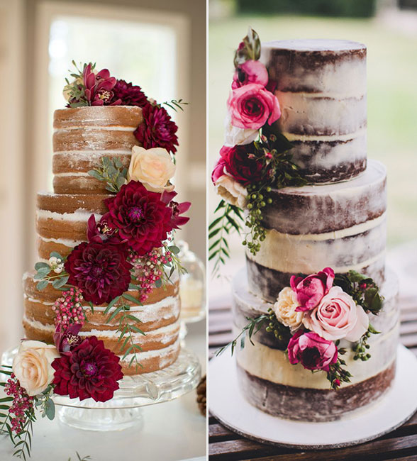 naked wedding cake design