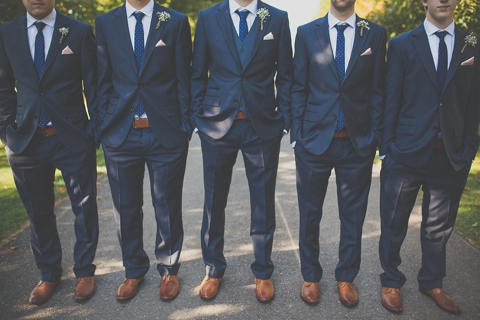 navy blue wedding groomsman attire