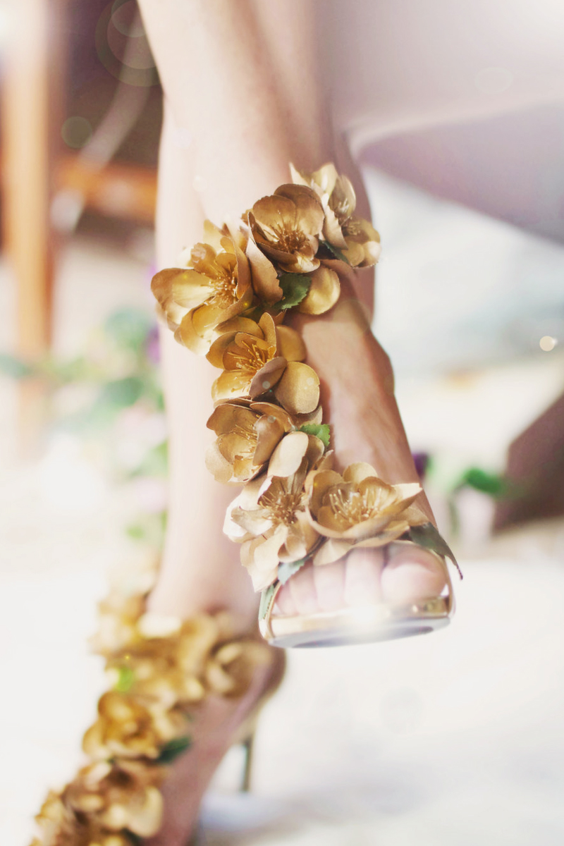pretty gold floral wedding shoes