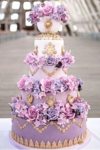 floral purple tier wedding cake