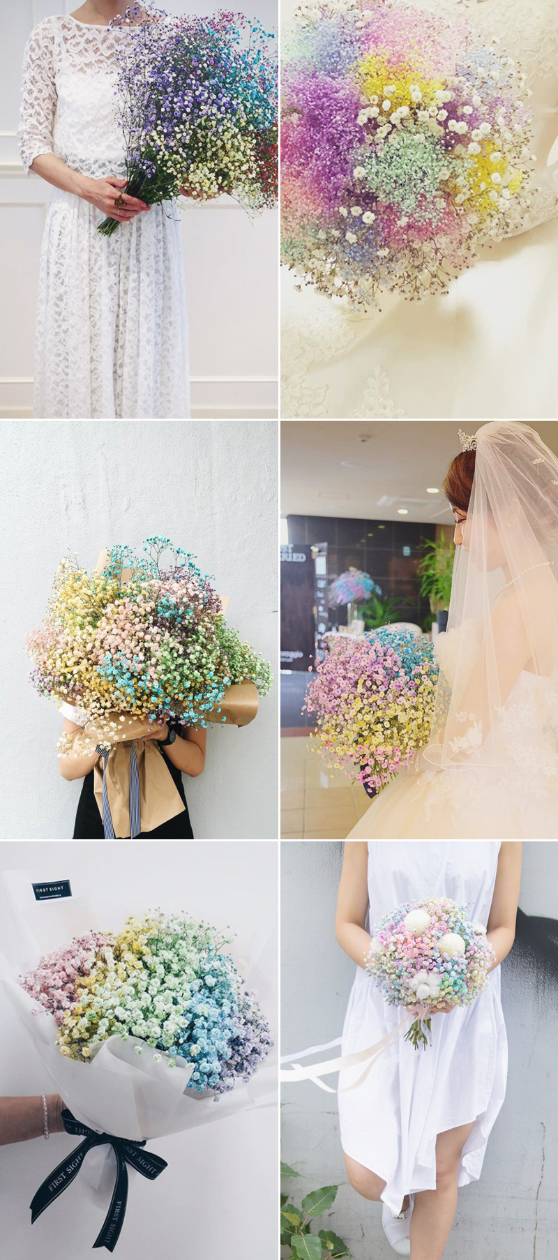 rainbow baby's breath for wedding bouquet