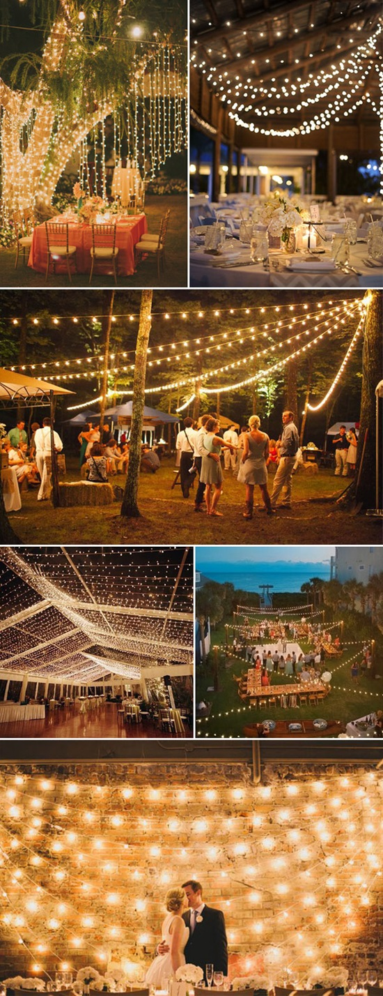 string lights for rustic wedding decor