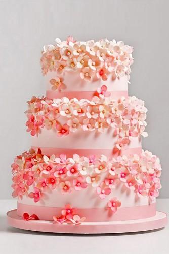 sweet pink floral wedding cake