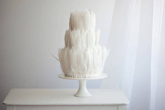 two tier delicate feather wedding cake
