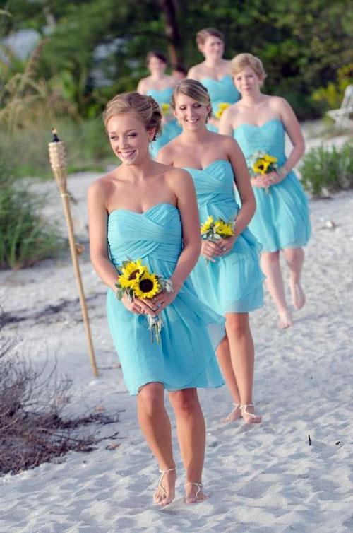 Blue Chiffon Bridesmaid Dresses for Beach