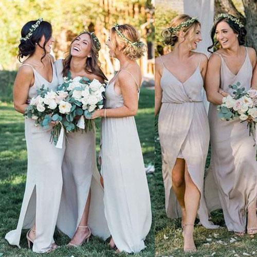 Cream Chiffon Bridesmaid Dresses for Beach