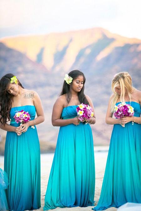 Simple Teal Bridesmaid Dresses