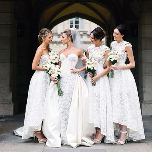 Elegant White Bridesmaid Dresses