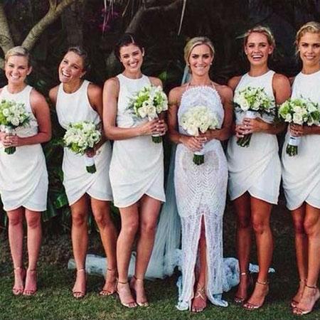 Simple White Bridesmaid Dresses