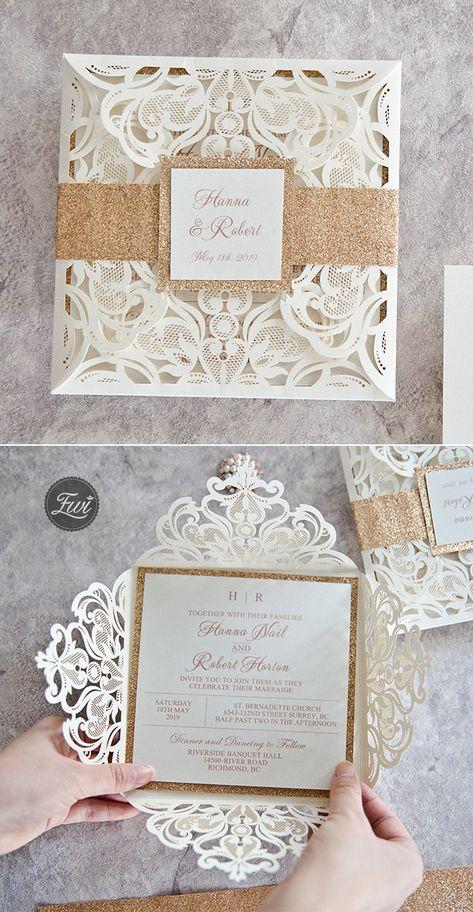 white gold wedding invitation